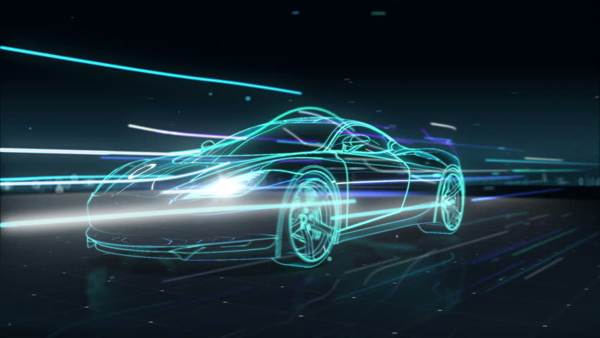 Automobile Technology. running car with line. 360 X-ray view.
