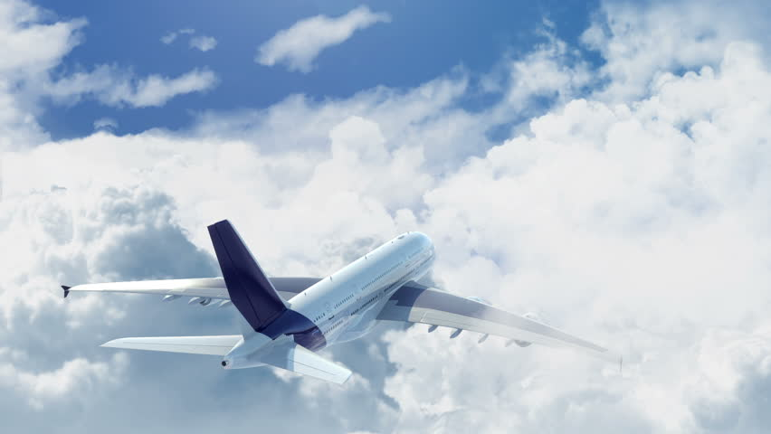 Camera chasing a commercial airplane flying above the clouds | Shutterstock HD Video #2166533
