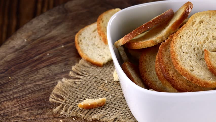 Rotating Bread Chips (not loopable; 4K UHD footage) | Shutterstock HD Video #21682513