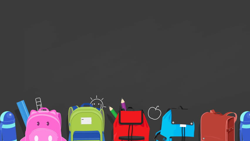 Back to school animated background ,school bags sliding on chalkboard background with kids drawing,video animation, loopable