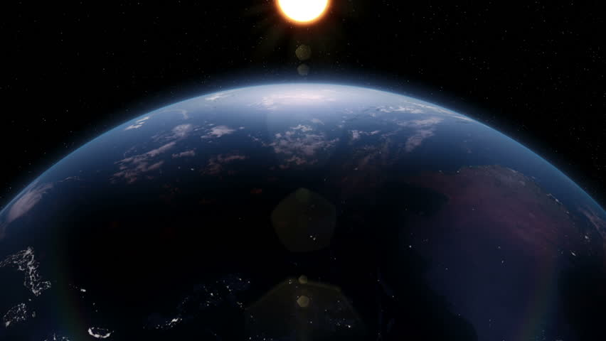 Partially lit rotating earth view from space with night city lights. | Shutterstock HD Video #2170751