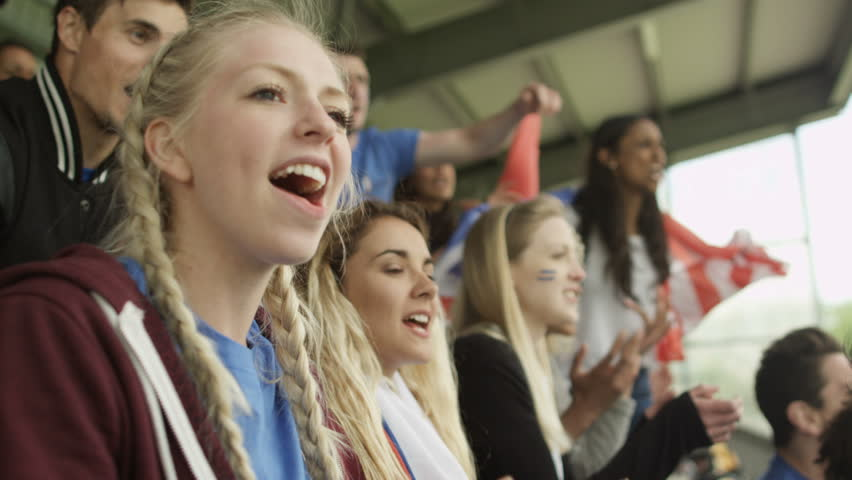 4K Excited sports crowd with national flags cheering on their teams (UK-Oct 2016) | Shutterstock HD Video #21743290