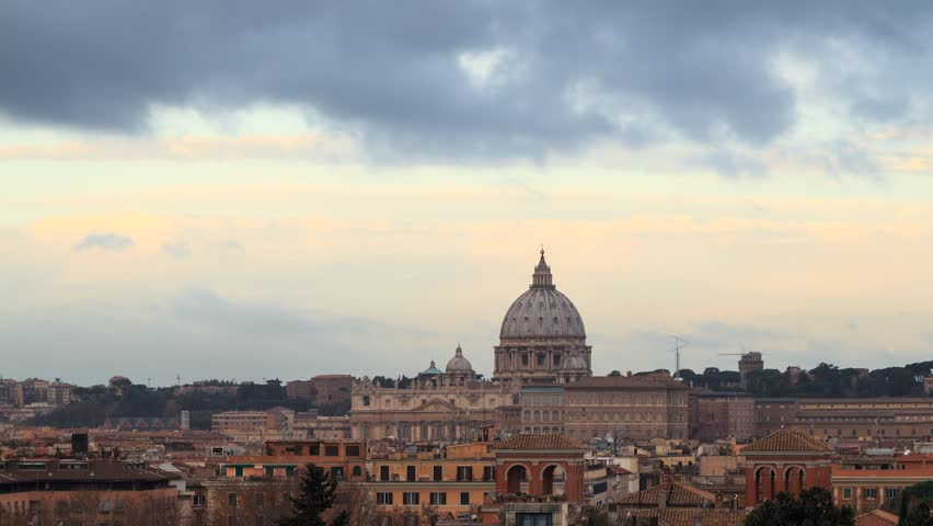 St Peter's Basilica at dawn, Rome, Italy time lapse. | Shutterstock HD Video #21757753
