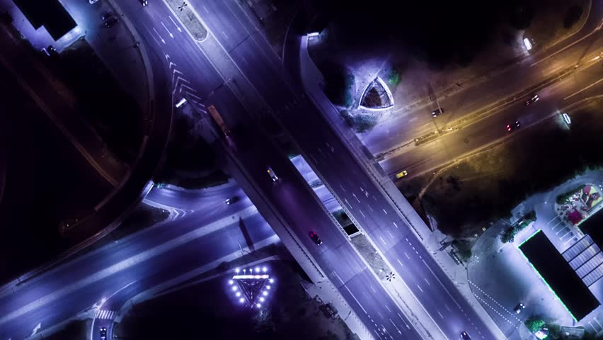 Aerial Footage Of Rush Hour Traffic On Busy Freeway At Night City Motion Modern Timelapse Car Los Angeles Metropolis Transportation Drone