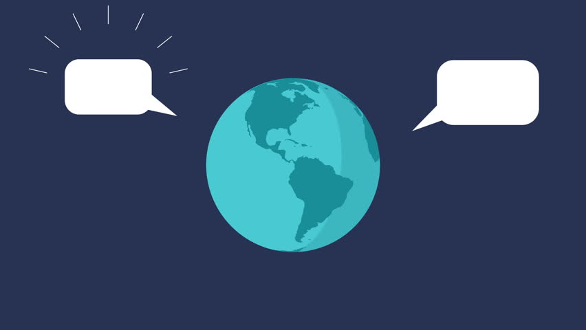 Rotating light blue earth with speech bubble balloon, space view. Moving sphere showing a symbolic conversation around the planet via internet or social media flat design motion graphic animation