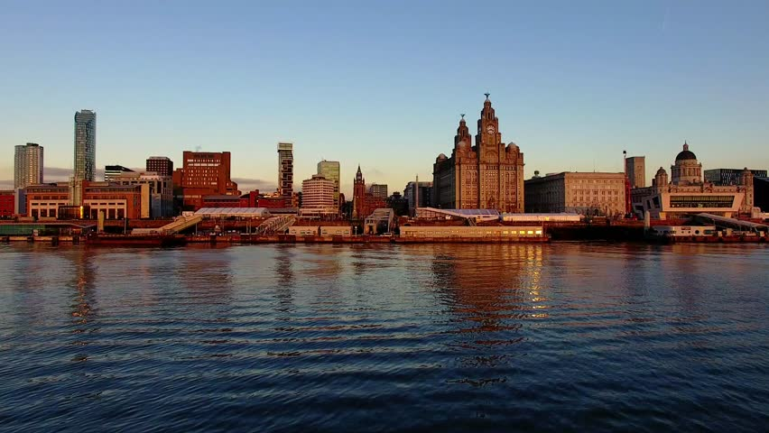 Amazing 4K Drone footage of the iconic Liverpool Skyline in the warm evening light.