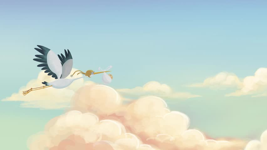Stork with a baby flying among the clouds carried by a baby