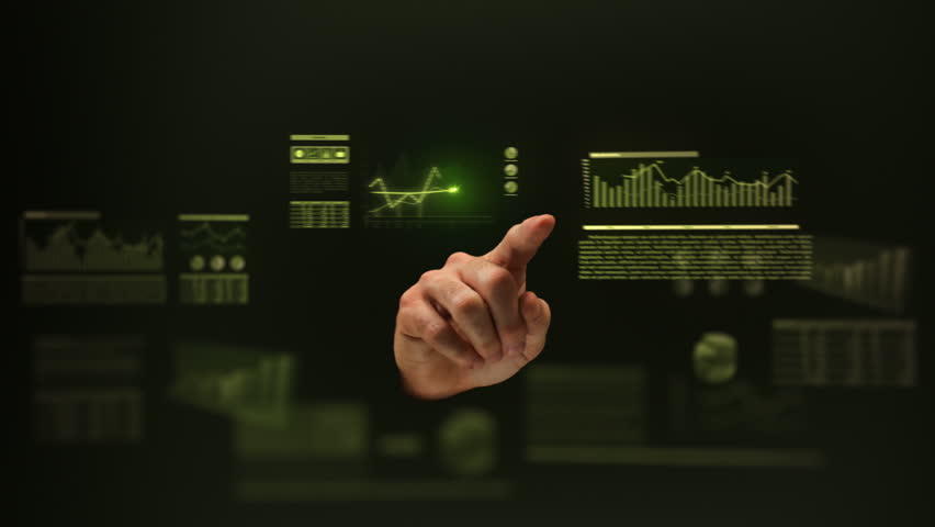 Male hand working on holographic interface. Financial. Green. Man touching a visual screen with holographic computer icons. Financial diagrams appearing. More color options in my portfolio. | Shutterstock HD Video #21784936