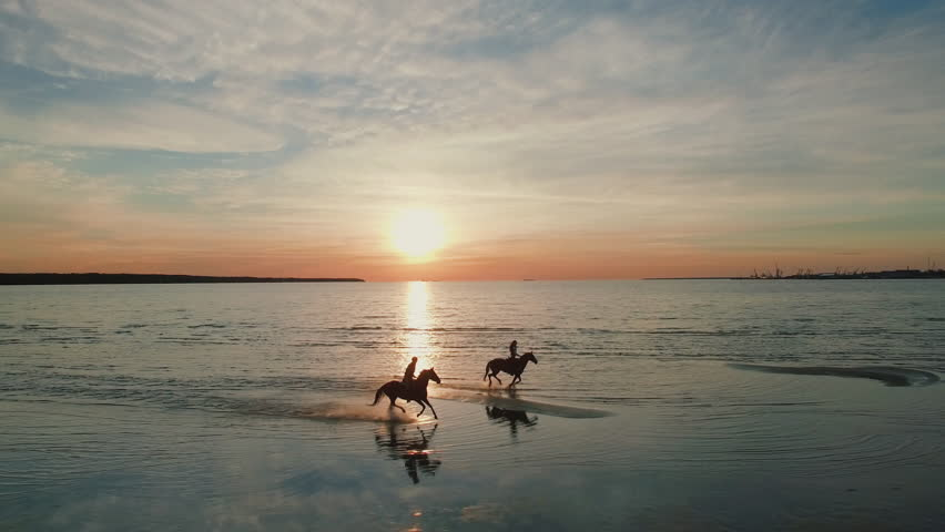Two GIrls are Riding Horses on a Beach. Horses Run Towards the Sea. Beautiful Sunset is Seen in this Aerial Shot. Shot on Phantom 4K UHD Camera.