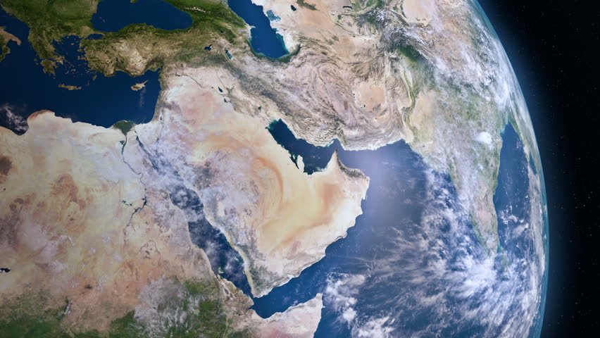 Earth view from space. Middle East.