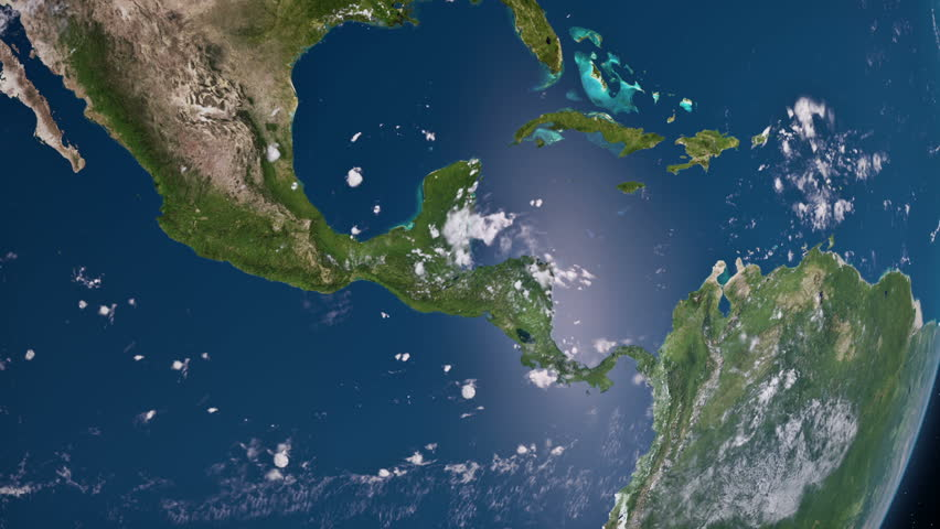 Earth view from space. Central America.