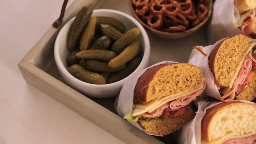Step by step. Fresh sub sandwich on white and wheat hoagies. | Shutterstock HD Video #21835531