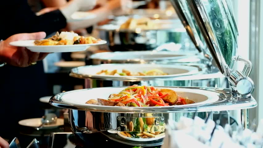 people group catering buffet food indoor in luxury restaurant with meat colorful fruits and vegetables Royalty-Free Stock Footage #21859720