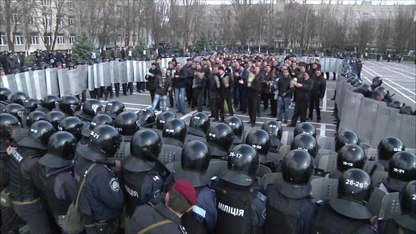 KIEV - MARCH 31: Training of militia (police) to disperse mass disorders on March 31, 2012 in Kiev.