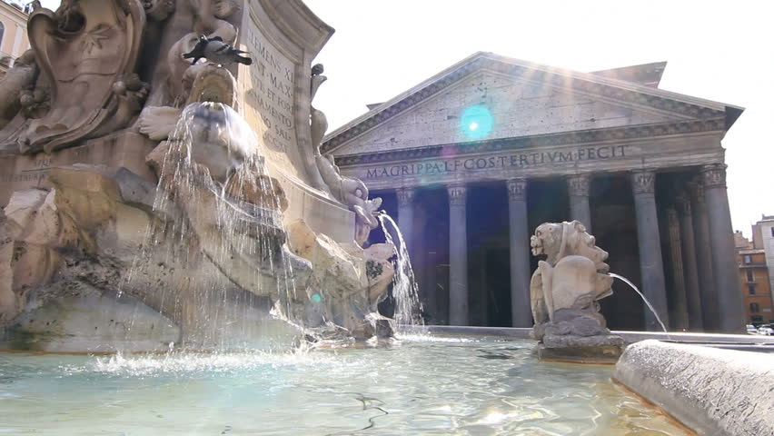 Fountain by Pantheon in Rome 2