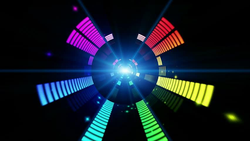 Led Colorful Fractal dance floor several shining Sound waves loop Dance lines  light Rainbow spectrum color Disco dancing electronic music background Circle audio equalizer Floodligh bulb spectrum box #2189371