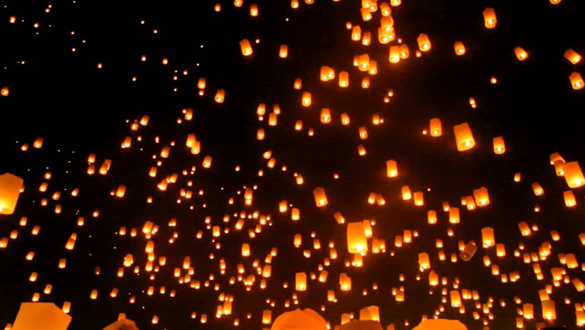 Release floating lanterns to the sky , Yi Peng Lantern festival, Chiang Mai, Thailand.