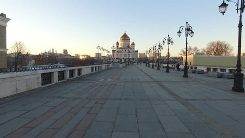 Cathedral of Christ the Saviour at sunset, Moscow