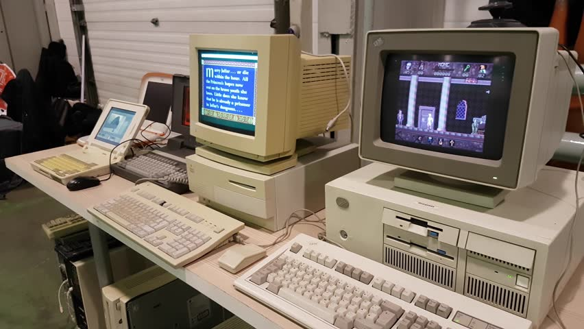 Moscow, Russia - November 19, 2016: Working retro pc and laptops with vintage games on Gamefilmexpo event
