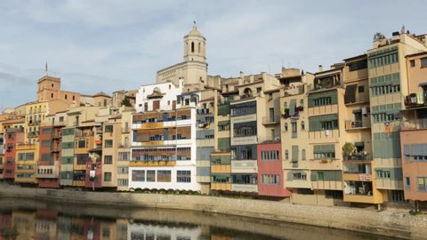 Landscape of Girona river colorful houses. Spain.