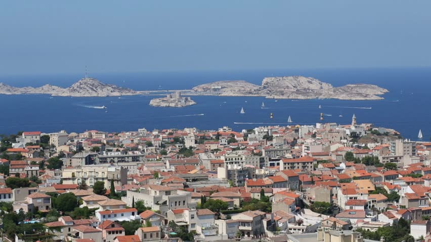 Seascape with many boats sail near IF island and Marseille at sunny summer day, France | Shutterstock HD Video #21913039