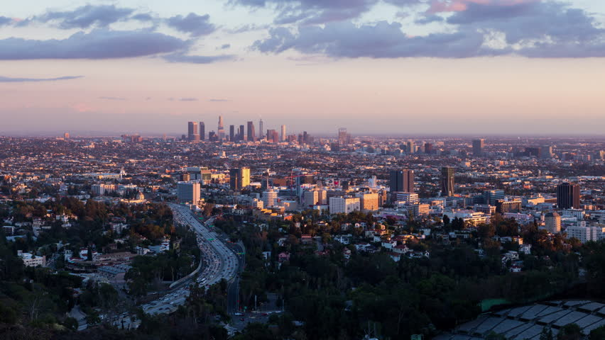 Los Angeles and Hollywood Day To Night Sunset Timelapse