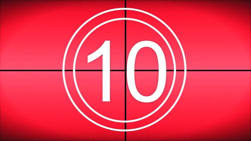 Countdown from 10 - 1 Red revolving textured background, clean futuristic look with white text and Beeping tones.