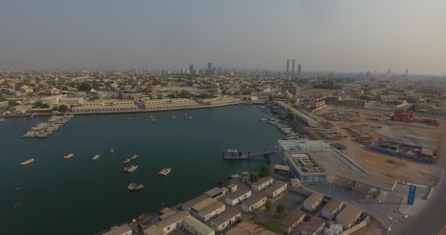Flying along above Ras Al Khaimah, north of Dubai by drone