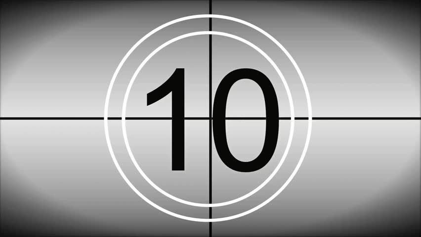 Countdown from 10 - 1 BLACK & WHITE revolving background, clean look with Black text and Beeping tones.