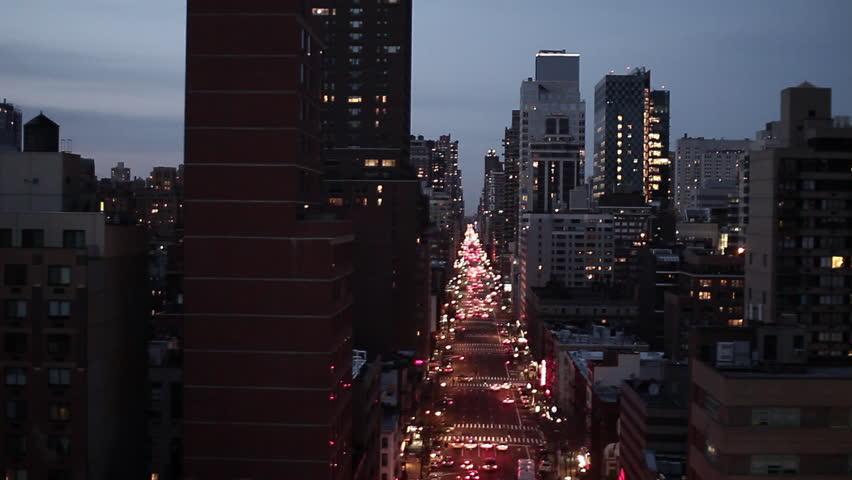 NYC new york city night skyline street aerial view | Shutterstock HD Video #2195521