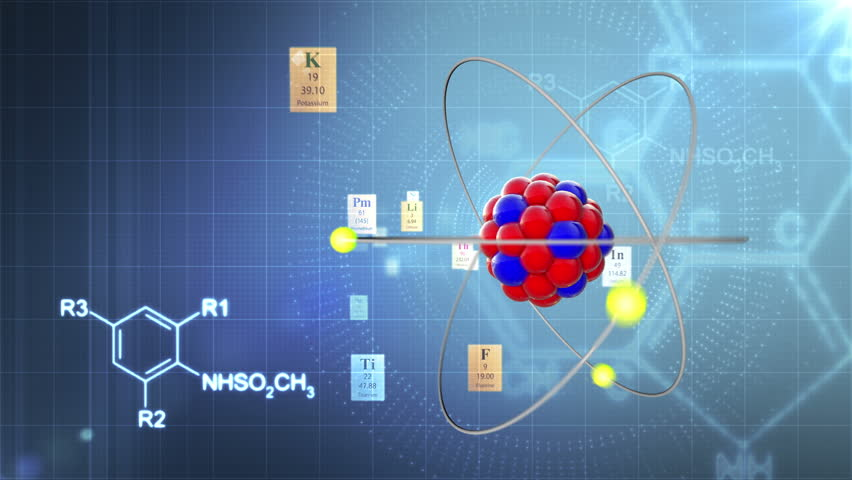 Scientific background. Atom model with elements of Periodic table and chemical formulas