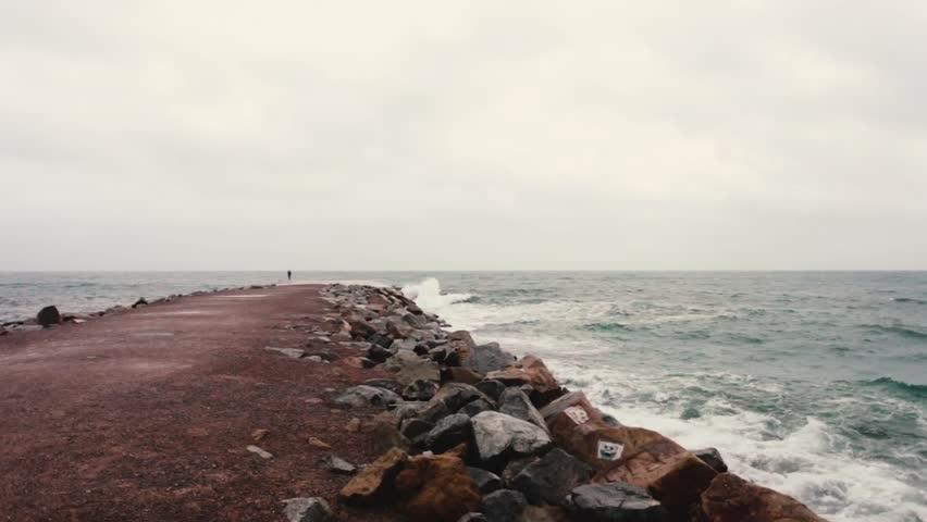 Sea storm, blue water in Barcelona | Shutterstock HD Video #21969991