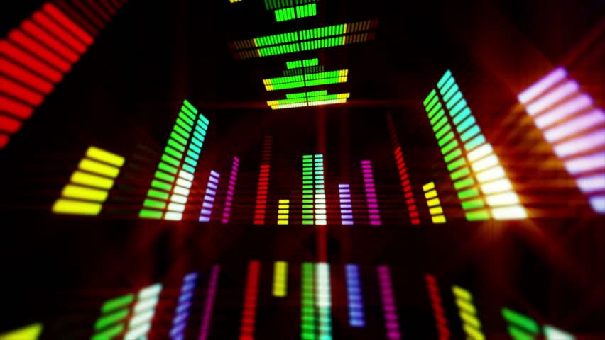 Led Colorful Fractal dance floor several shining Sound waves loop Dance lines  light Rainbow spectrum color Disco dancing electronic music background Circle audio equalizer Floodligh bulb spectrum box #2198941