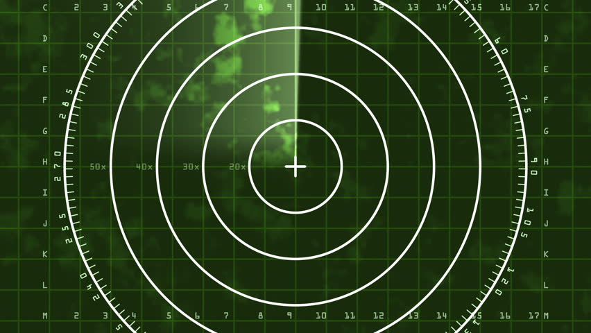 Radar Blip Full Screen, Digital (25fps). Enlarged loop of a radar screen displaying clouds and a bar refreshing and decaying.