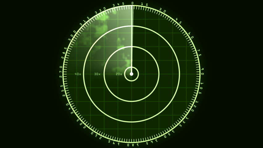 Radar Blip Screen, Digital (24fps). Loop of a radar screen displaying clouds and a bar refreshing and decaying. | Shutterstock HD Video #21999064