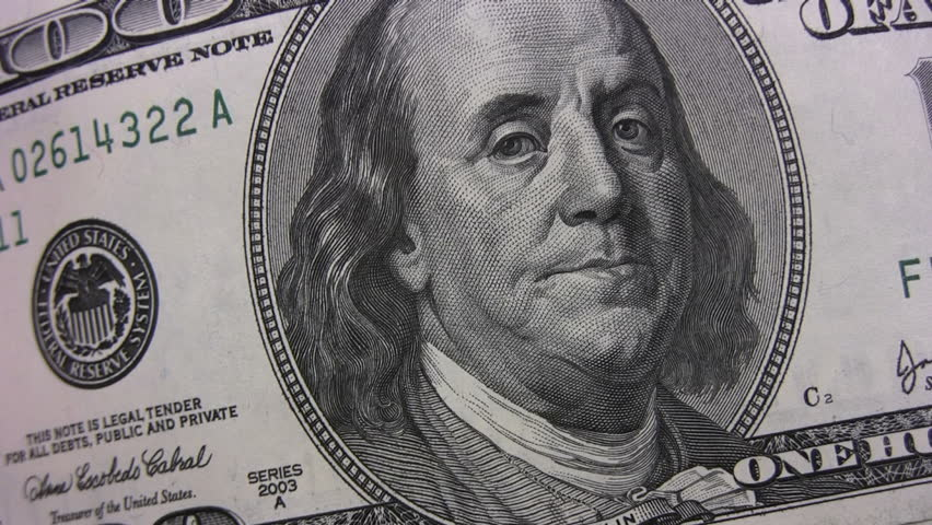 Closeup of counting of lot of american dollars isolated on green background | Shutterstock HD Video #220318