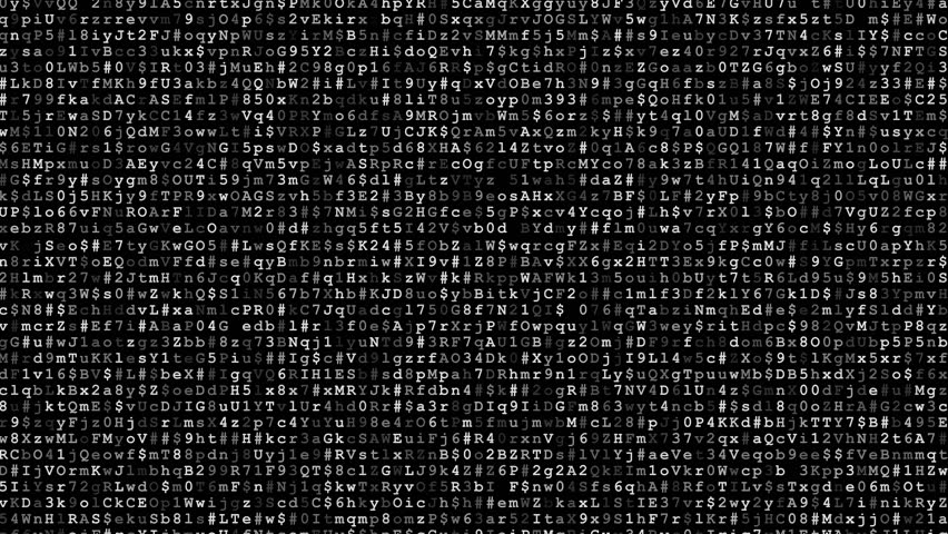 Random symbols. numbers and letters - scrolling of encrypted data black video background | Shutterstock HD Video #22042900