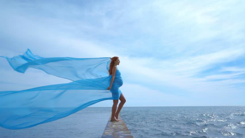 Pregnant Woman With Fabric Flying Stock Footage Video 100 Royalty Free 22044136 Shutterstock