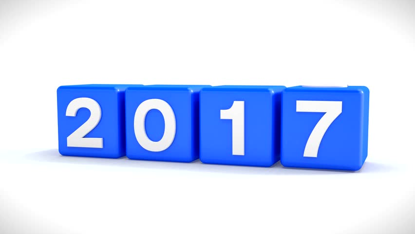 3d video animation of blue cubes with the year 2016, changing to the new year 2017, over white background - represents the new year 2017.