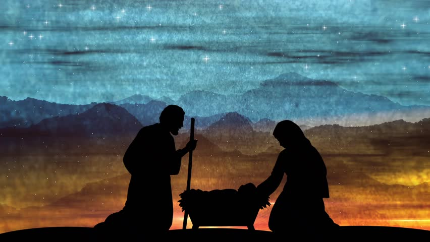 Large Religious Christmas Advent Scene Background. Mary And Joseph Around The Manger Where baby Jesus Rests.