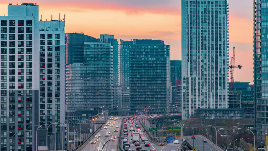 Toronto, Canada, Timelapse  - The Gardiner Expressway at Sunset. 4K timelapse clip of Toronto's Gardiner Expressway Highway at sunset  | Shutterstock HD Video #22130845