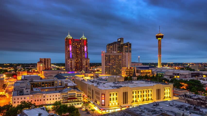 San Antonio, Texas, USA skyline time lapse.
