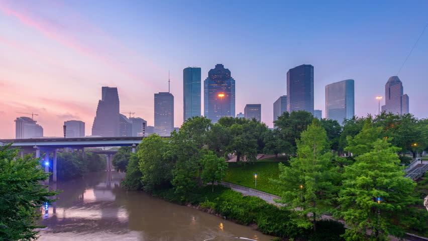 Houston, Texas, USA misty morning skyline time lapse.