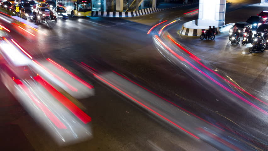 City intersection traffic time lapse in Bangkok Thailand at night | Shutterstock HD Video #22166347