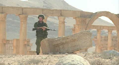 Palmyra, Syria, May 14.2016: Ruined City, recently released by terrorists, many monuments destroyed by militants, residents of Palmyra killed, the city abandoned by people. In Syria, there is a war.