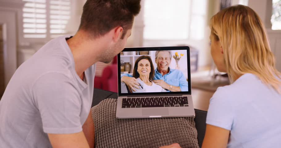 Millennial Couple Video Chatting With Video Stock A Tema 100