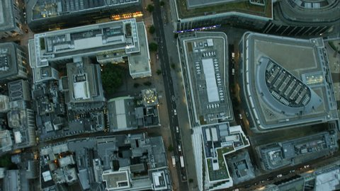 Aerial overhead view of St Paul's Cathedral tourism destination and city rooftops in London UK RED DRAGON