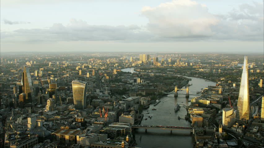 Aerial view at sunset of the city of London UK with the River Thames