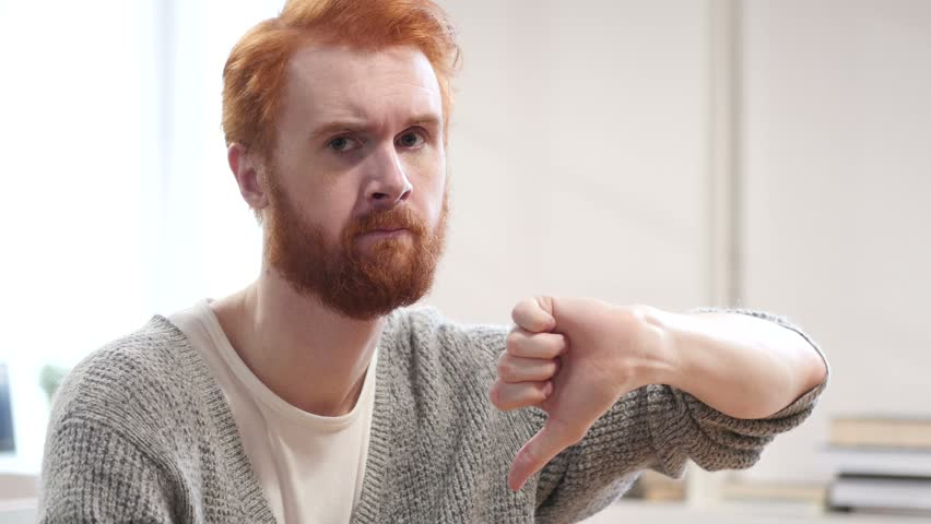 Thumbs Down by Man with Red Hairs | Shutterstock HD Video #22246954