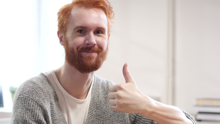 Thumbs Up by Man with Red Hairs | Shutterstock HD Video #22247053